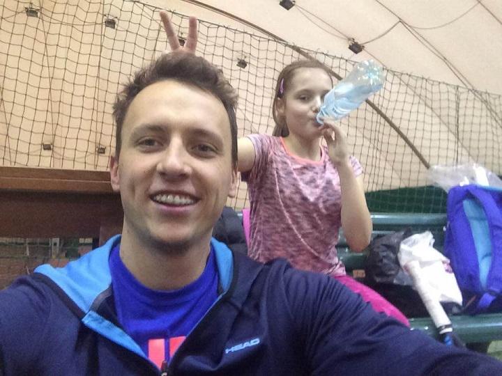 Trening tenisa Moniki Stankiewicz z trenerem Michałem Lewandowskim
